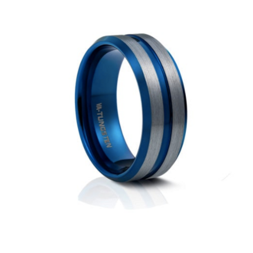 TUNGSTEN Luxe 8mm | Gunmetal Blue Bevel Edges