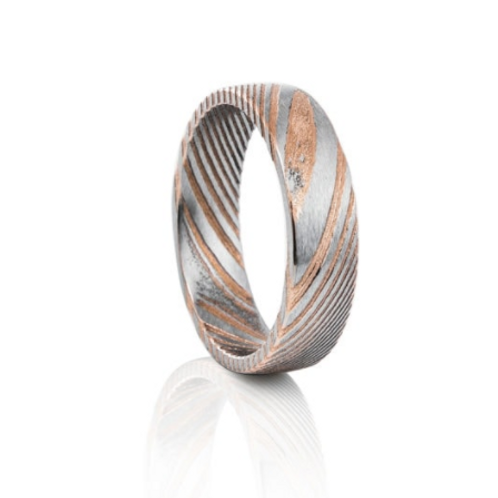 TUNGSTEN Luxe 6mm | Damascus Rose Accent
