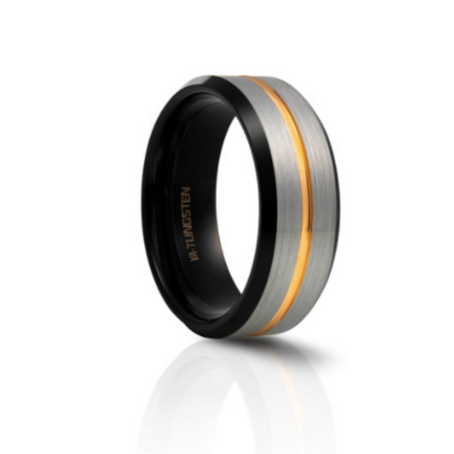 TUNGSTEN Luxe  8mm | Black Yellow Groove Inner