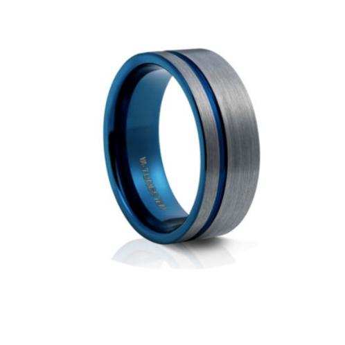 TUNGSTEN Luxe 8mm | Gunmetal Blue Single Accent