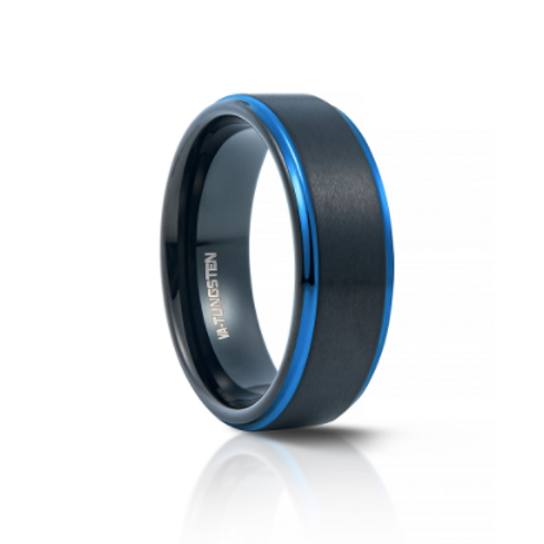 TUNGSTEN Luxe 8mm | Black Blue Step Edge