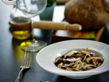 Pâtes maisons aux champignons, sauce camembert