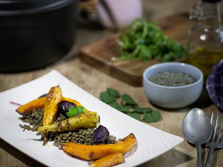 Lentilles et légumes rôtis