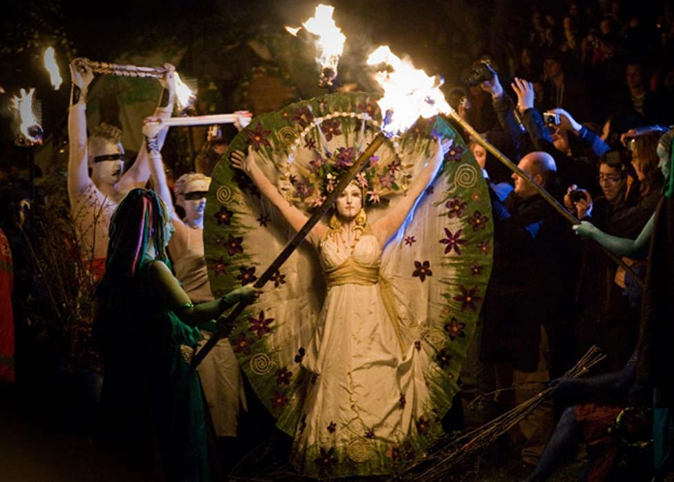 The promenade of the May Queen at the Beltane Fire Festival in Edinburgh, Scotland