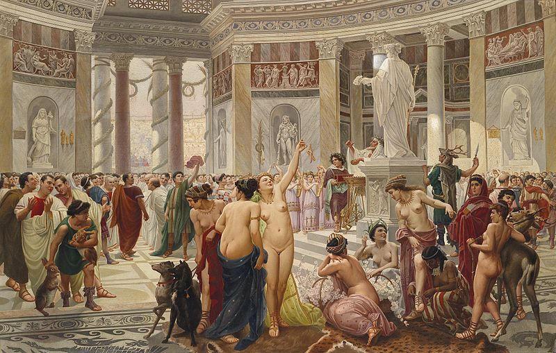 The celebration of Floralia in the Roman Empire