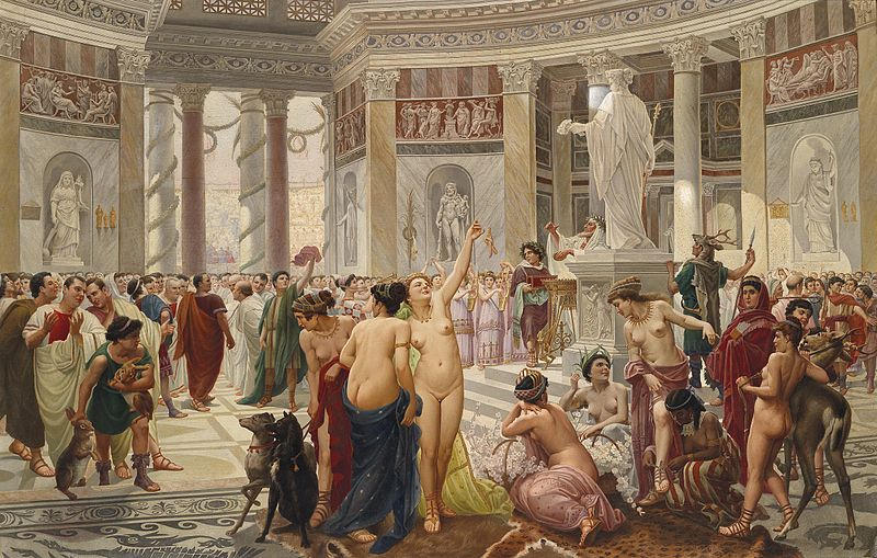 The celebration of Floralia in the Roman Empire