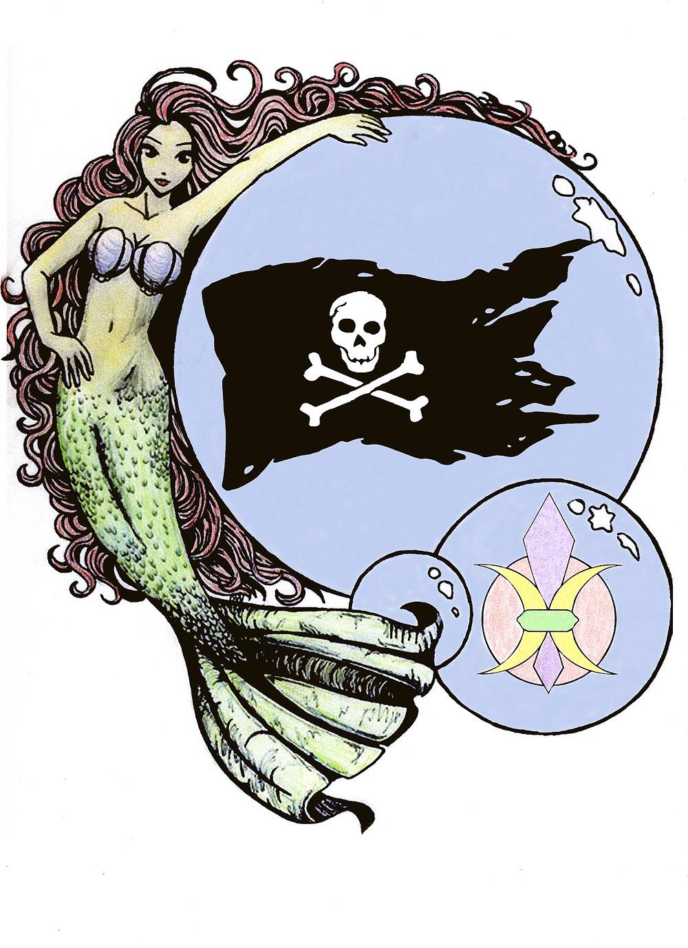 mermaid pirate logo