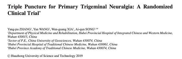 Trigeminusneuralgie RCT Studie 2019: Wirkung der Akupunktur auf Trigeminusneuralgie
