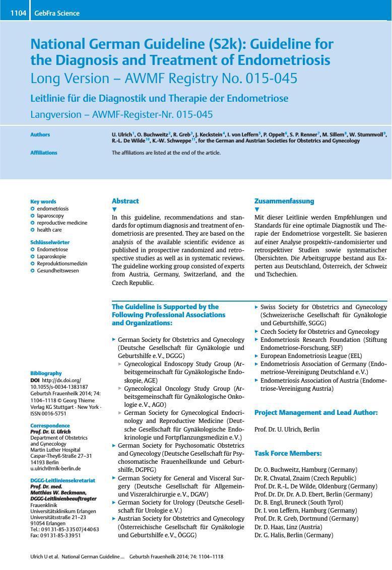 Endometriose National German Guideline