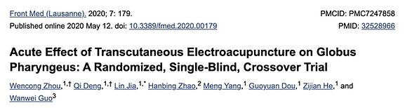1. eine aussagekräftige Studie, die eine hohe Wirkung der Akupunktur auf das Globusgefühl