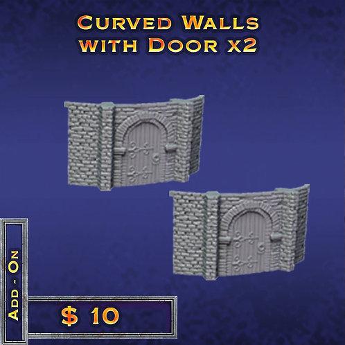 Curved Walls with Door x 2