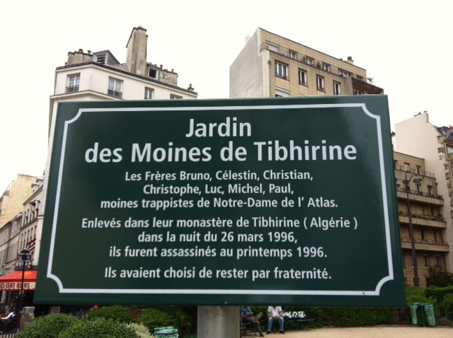 Plaque du Jardin des Moines de Tibhirine dans le 11ème arrondissement de Paris