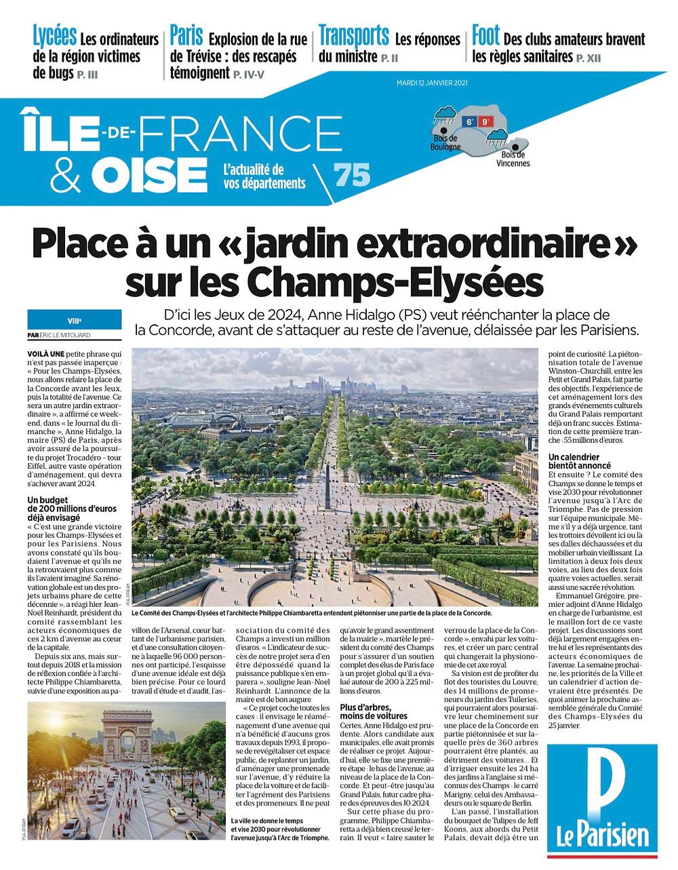 """Eric LE MITOUARD, """"Place à un jardin extraordinaire sur les Champs-Elysées"""", Le Parisien du 12 janvier 2021"""