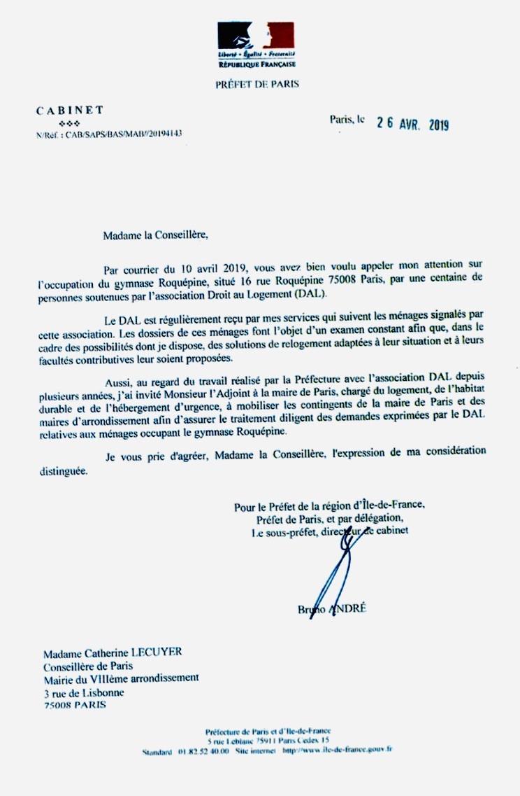 Réponse du Préfet Michel Cadot