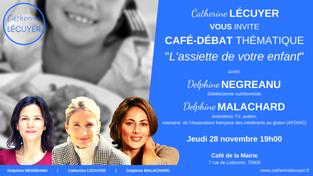 """[INVITATION] Café-débat thématique """"L'assiette de votre enfant"""" jeudi 28/11 19h"""