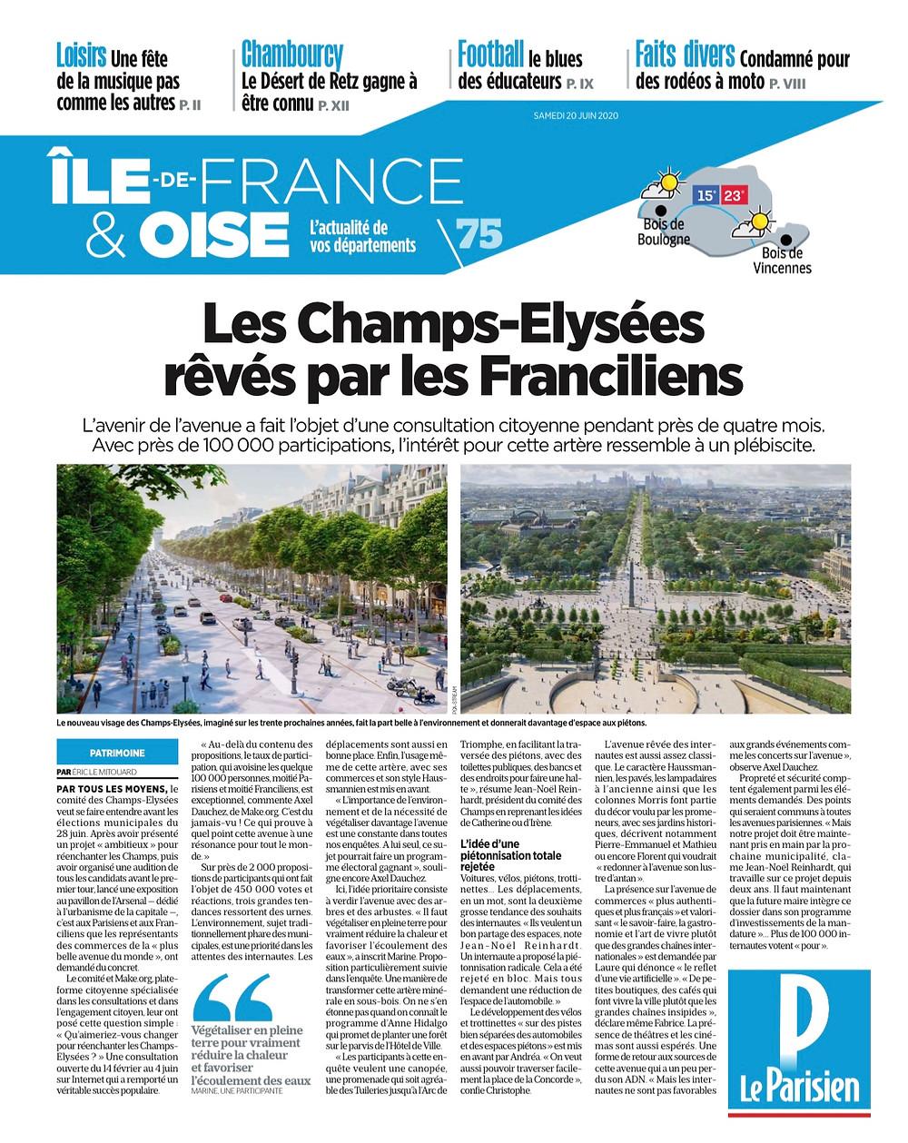 """Eric LE MITOUARD, """"Les Champs-Elysées rêvés par les Franciliens"""", Le Parisien du 20 juin 2020"""