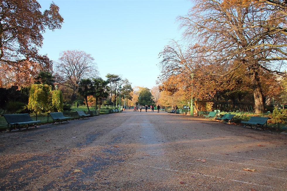 L'allée centrale du parc Monceau