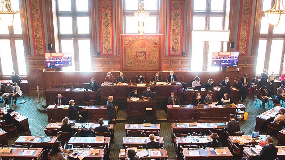 L'hémicycle du Conseil de Paris en octobre 2020
