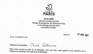 Lavatories de la Madeleine : je continuerai de suivre l'avancement du dossier