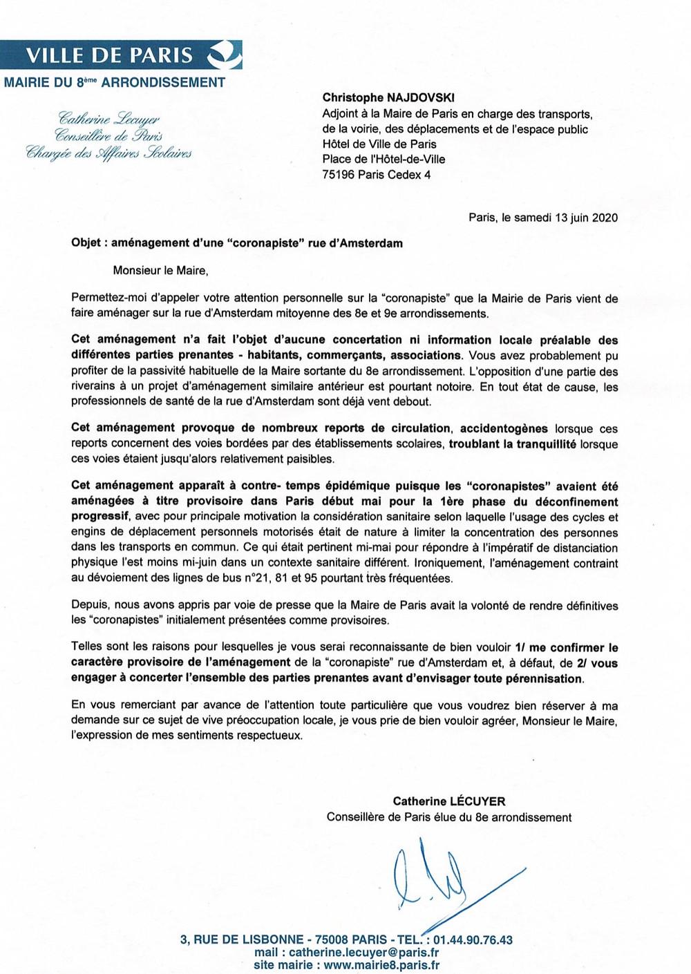 Mon courrier à l'adjoint à la Maire de Paris Christophe NAJDOVSKI