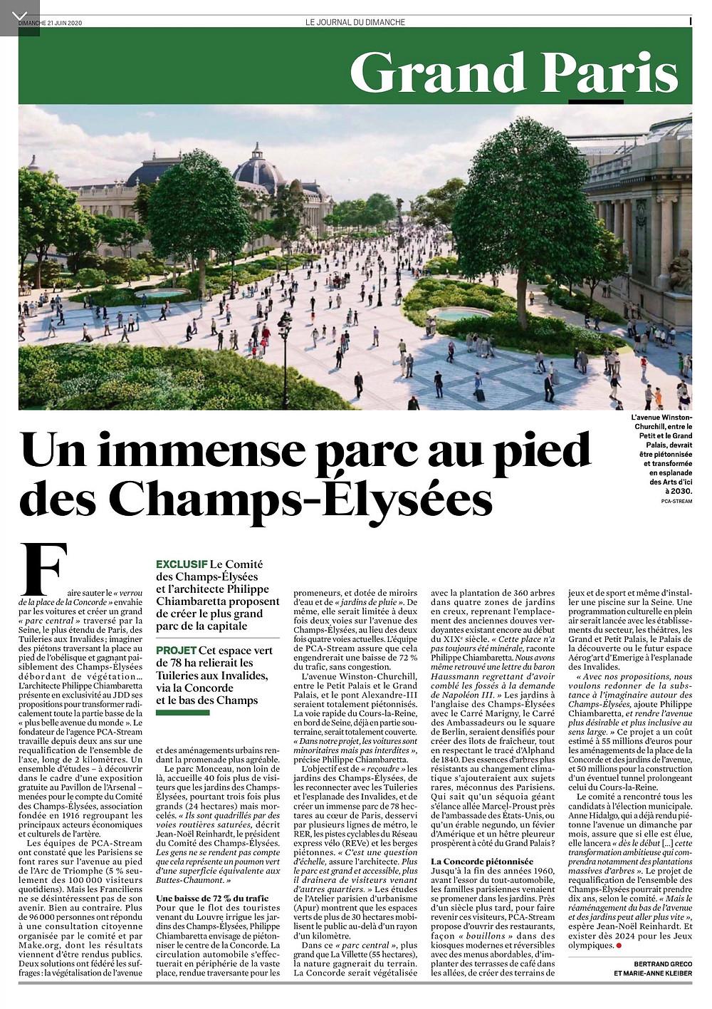 """Bertrand GRECO et Marie-Anne KLEBER, """"Un immense parc au pied des Champs-Elysées"""", Le Journal du Dimanche du 21 juin 2020"""