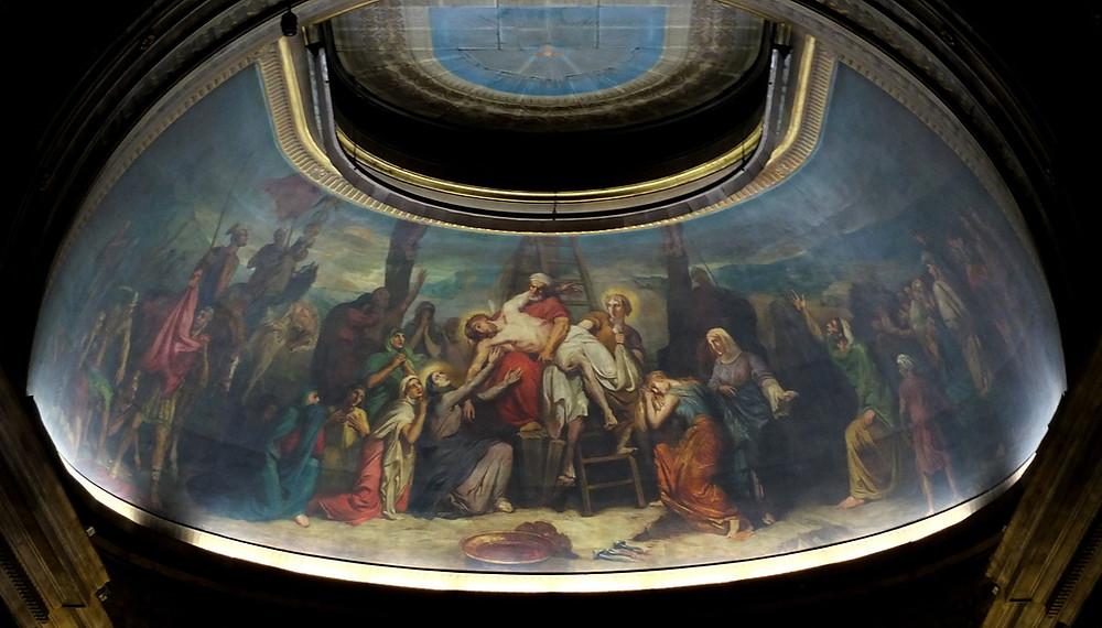 La fresque peinte par T. Chassériau au plafond de l'abside de l'église St-Philippe-du-Roule