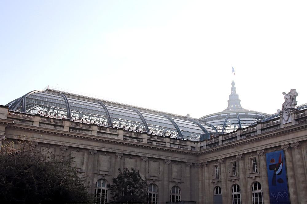 La verrière de la nef et l'entrée des galeries nationales vues depuis le square Jean Perrin