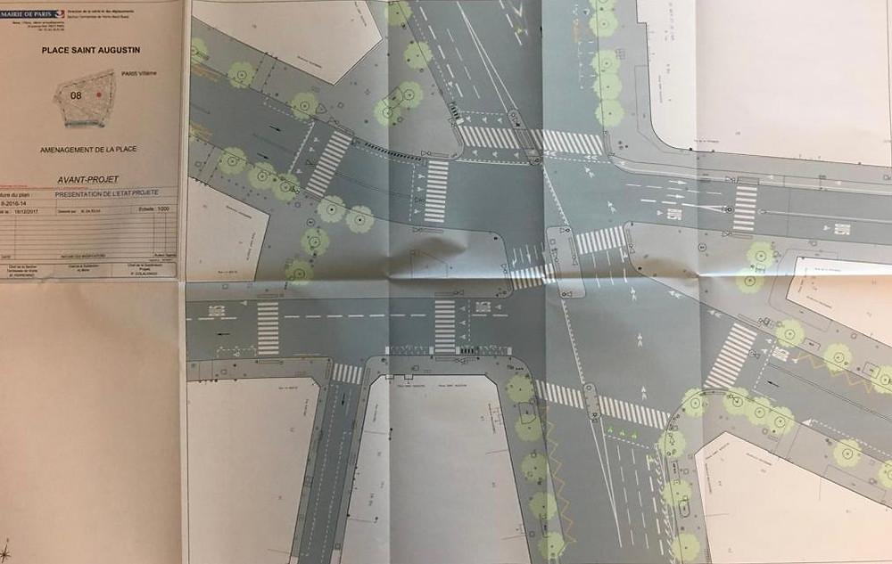 Plan de l'avant-projet d'aménagement de la place Saint-Augustin (Direction de la voirie et des déplacements)