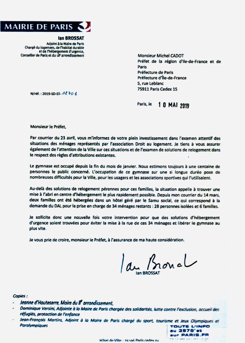 Réponse de l'Adjoint à la Maire de Paris Ian Brossat