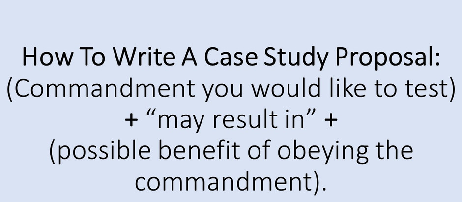 How To Submit A Case Study About Keeping The Commandments
