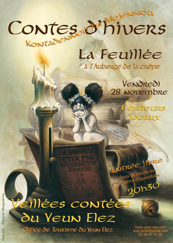 """""""Contes d'Hivers"""" Affiche pour des soirées contées   au coeurdes Monts d'Arrée"""