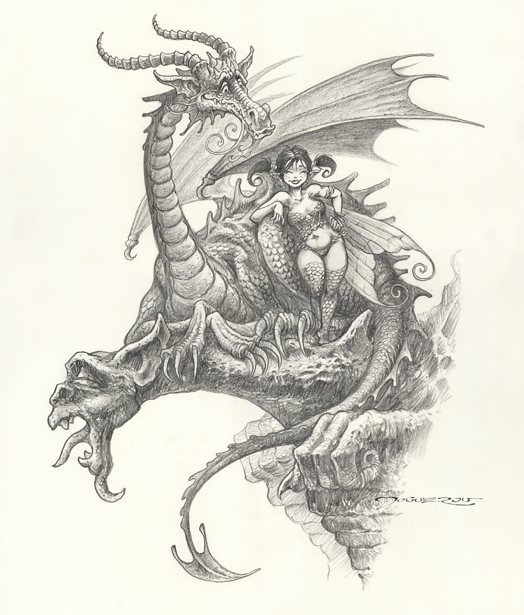 """""""La fée & le dragon"""" commission privée    pour un cadeau d'anniversaire"""