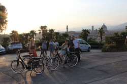 friends on rented electric bikes