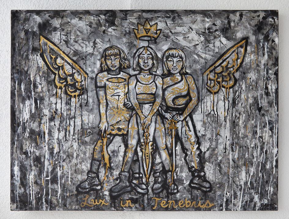 """""""Golden Trinity"""" Painting on Wall"""