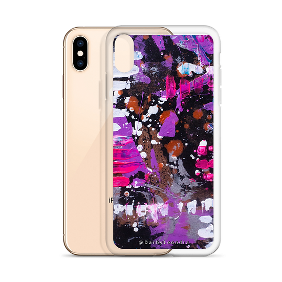Abstract Iphone Case Clear in Purples