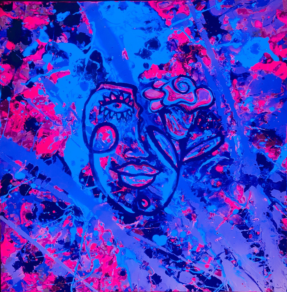 """They"" Abstract Painting under Black Light"
