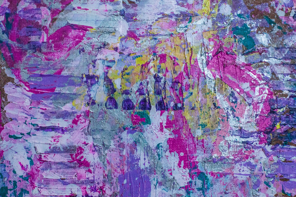 Detail of Candycaked abstract painting