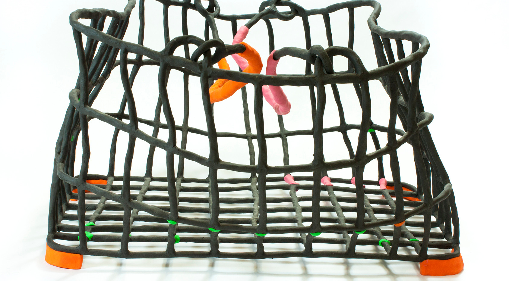 Basket with Pink, Green, and Orange
