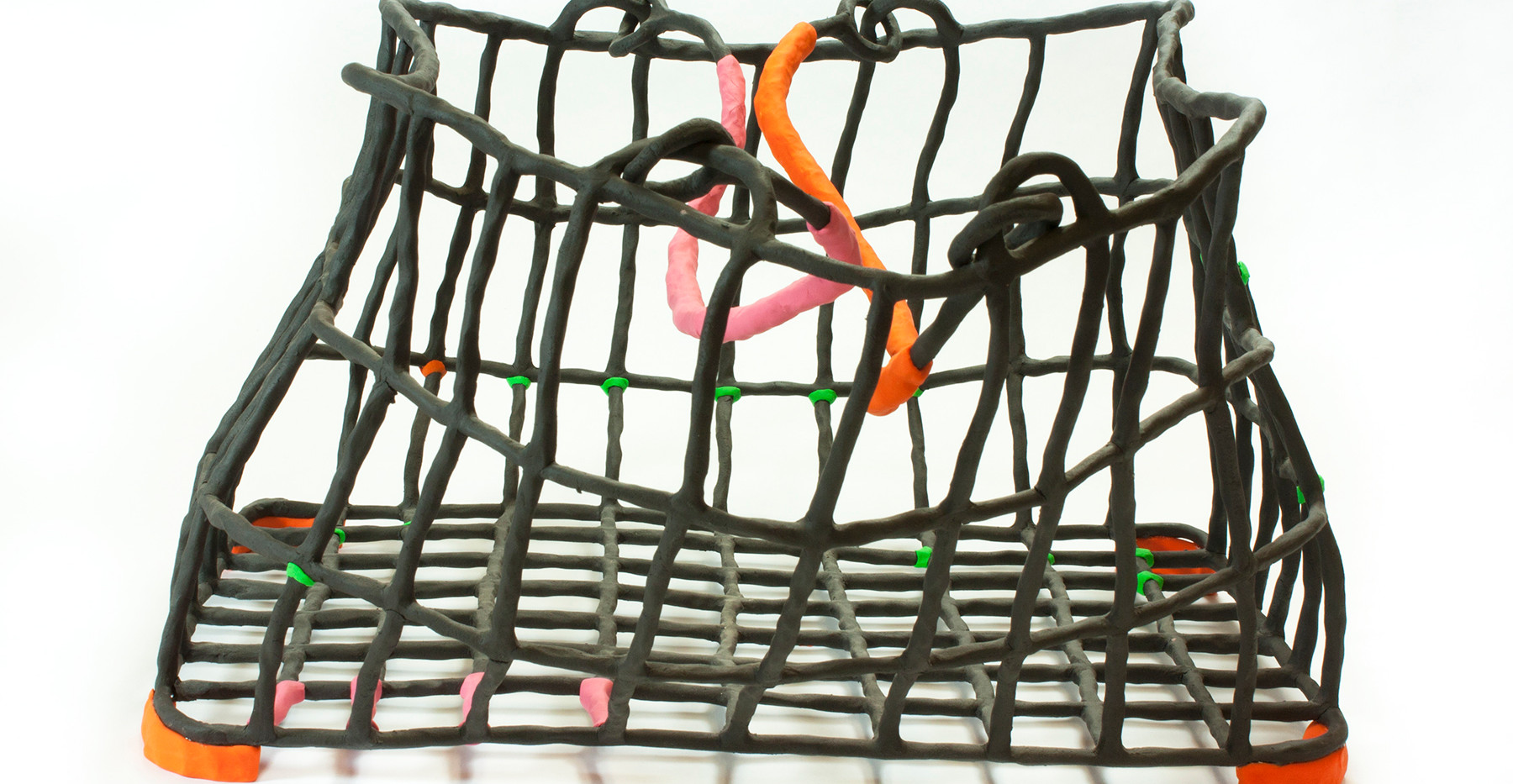 Basket with Pink Green and Orange