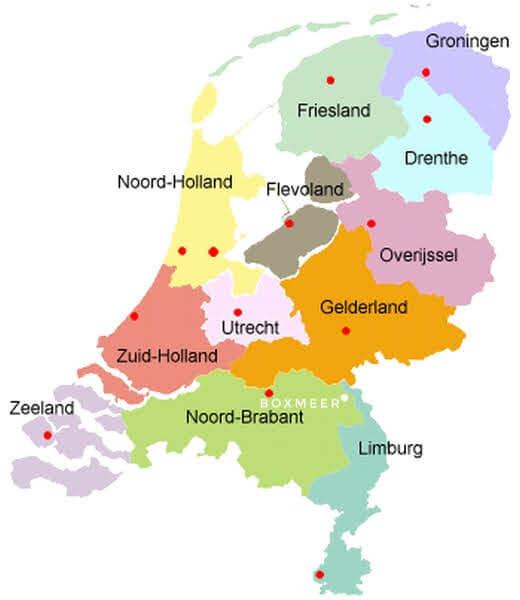 מפת מחוזות הולנד
