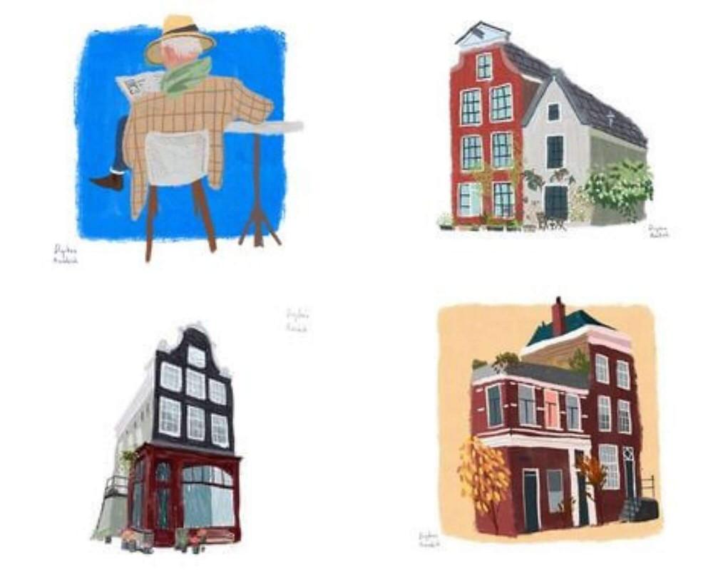 איורים של בתים בשכונת יורדאן באמסטרדם