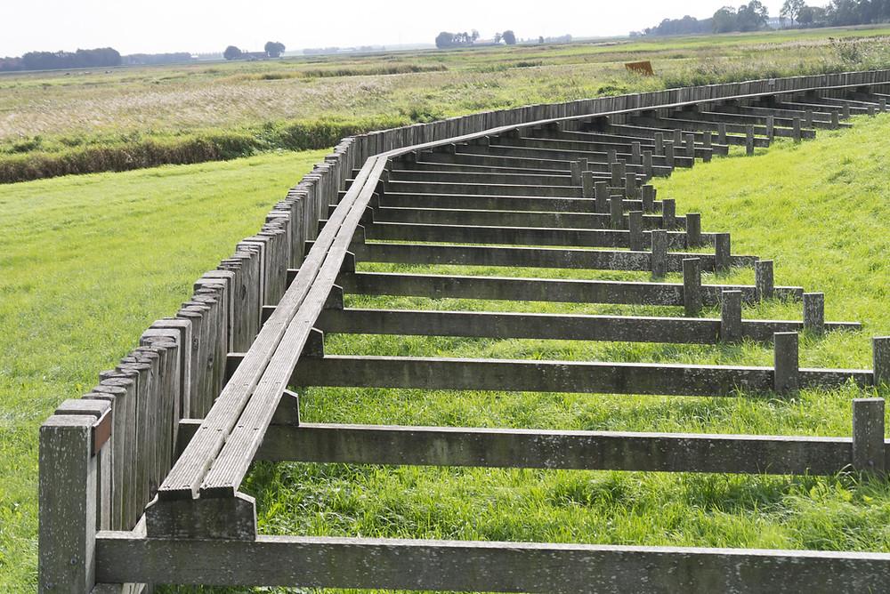 קרש-הליכה משוחזר.  זהו מעין גשר צר מאד – רחובו ארבעים סנטימטרים ורובו ללא מעקה