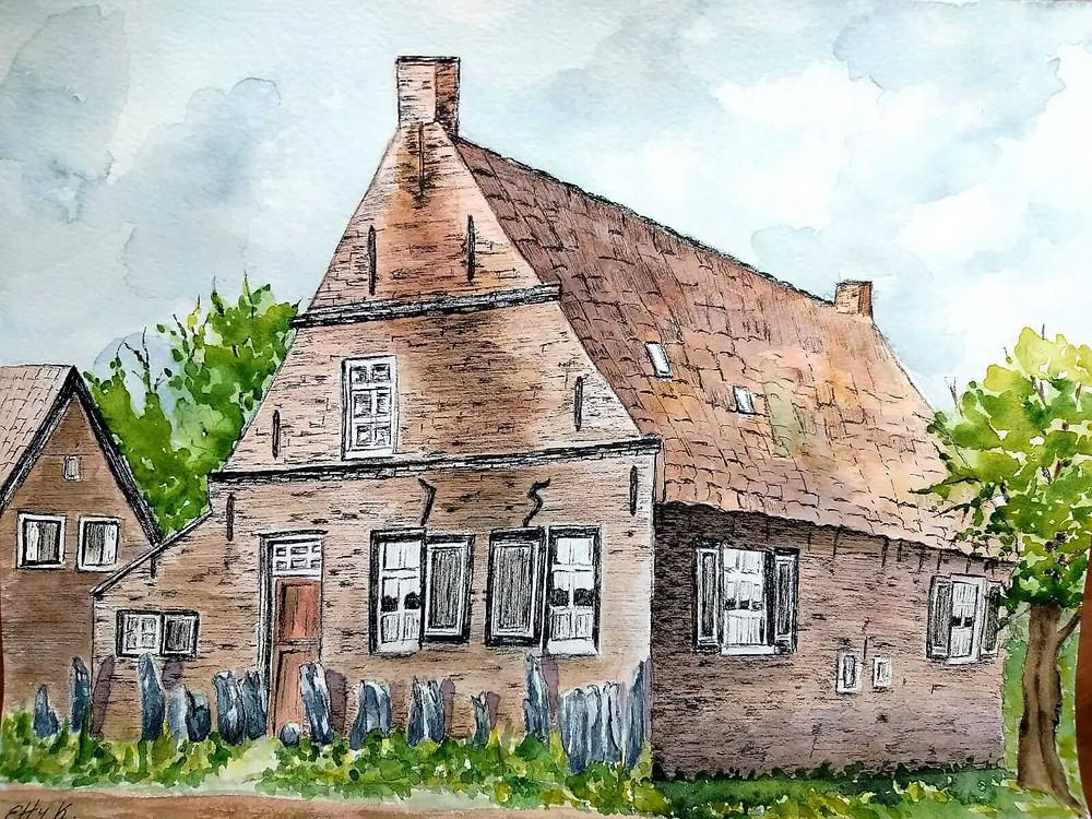 ציור של אתי. בית הילדות מצוייר בצבעי מים ודיו