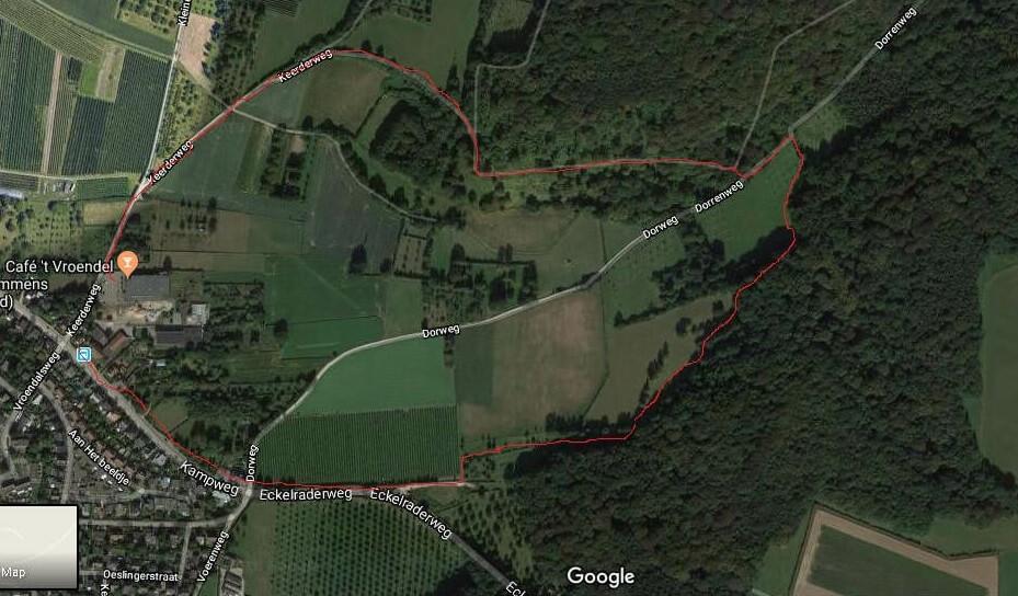 מפה עם מסלול טיול מסומן
