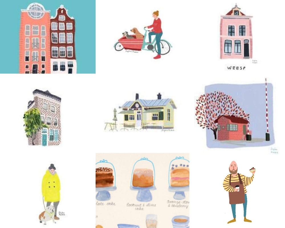 איורים שונים של בתים ואנשים באמסטרדם