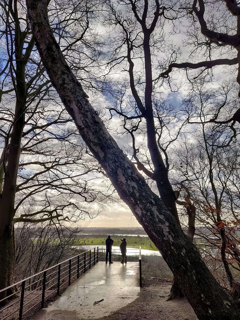 תצפית יפה על נהר הניידר-ריין אליה מוביל גרם מדרגות מסקרן.