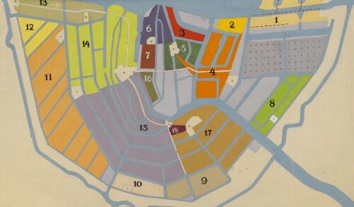 מפת אמסטרדם - הרובע היהודי באמסטרדם במאה התשע עשרה