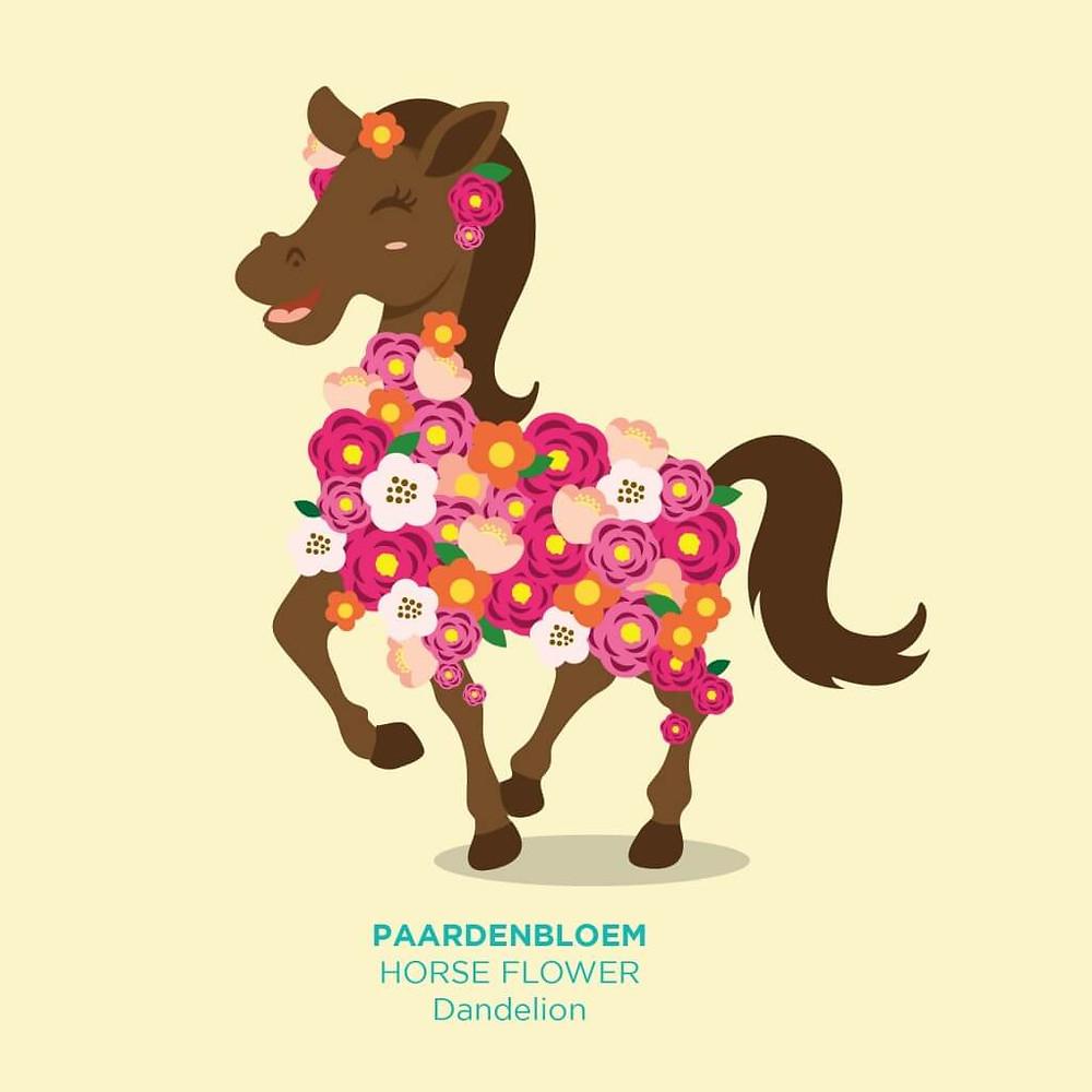 סוס מקושט בפרחים כייצוג למילה ההולנדית לפרח שן הארי