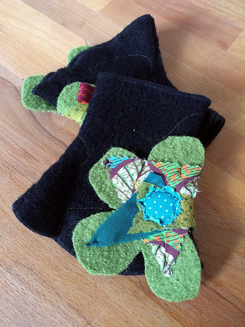 Mitaines Courtes Noires fleur Verte