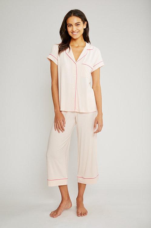 Eberjey Gisele Short Sleeve Cropped Pant PJ Set- Bellini/ Bright Pink